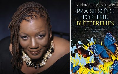 Picture of Bernice L. McFadden with her novel Praise Song for the Butterflies