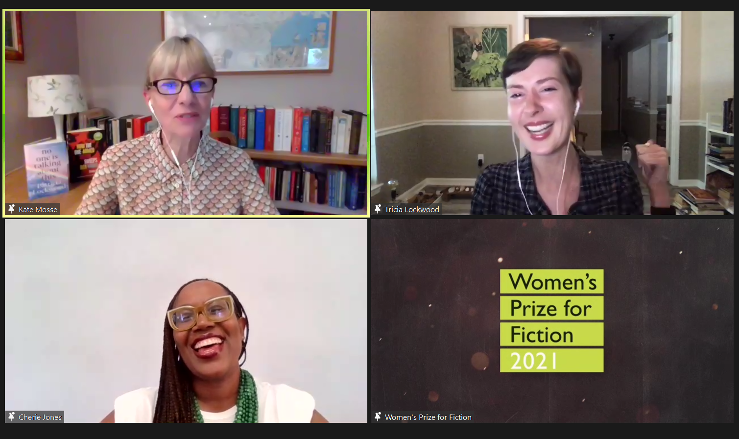 Photo of Zoom with Kate Mosse (Top left), Patricia Lockwood (Top right) and Cherie Jones (Bottom left) at the Women's Prize Virtual Shortlist Festival