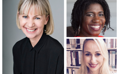 Photo of Writing masterclass panel leaders Kate Mosse, Dorothy Koomson and Alexis Kirschbaum