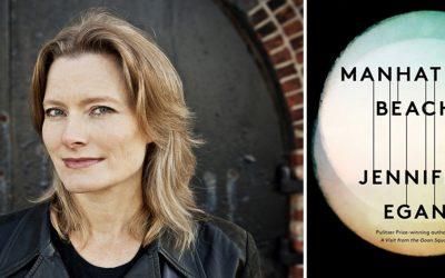 Photo of Jennifer Egen (left) and her novel Manhattan Beach