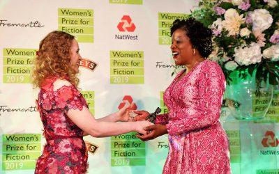 Photo of Tayari Jones accepting the 2019 Women's Prize