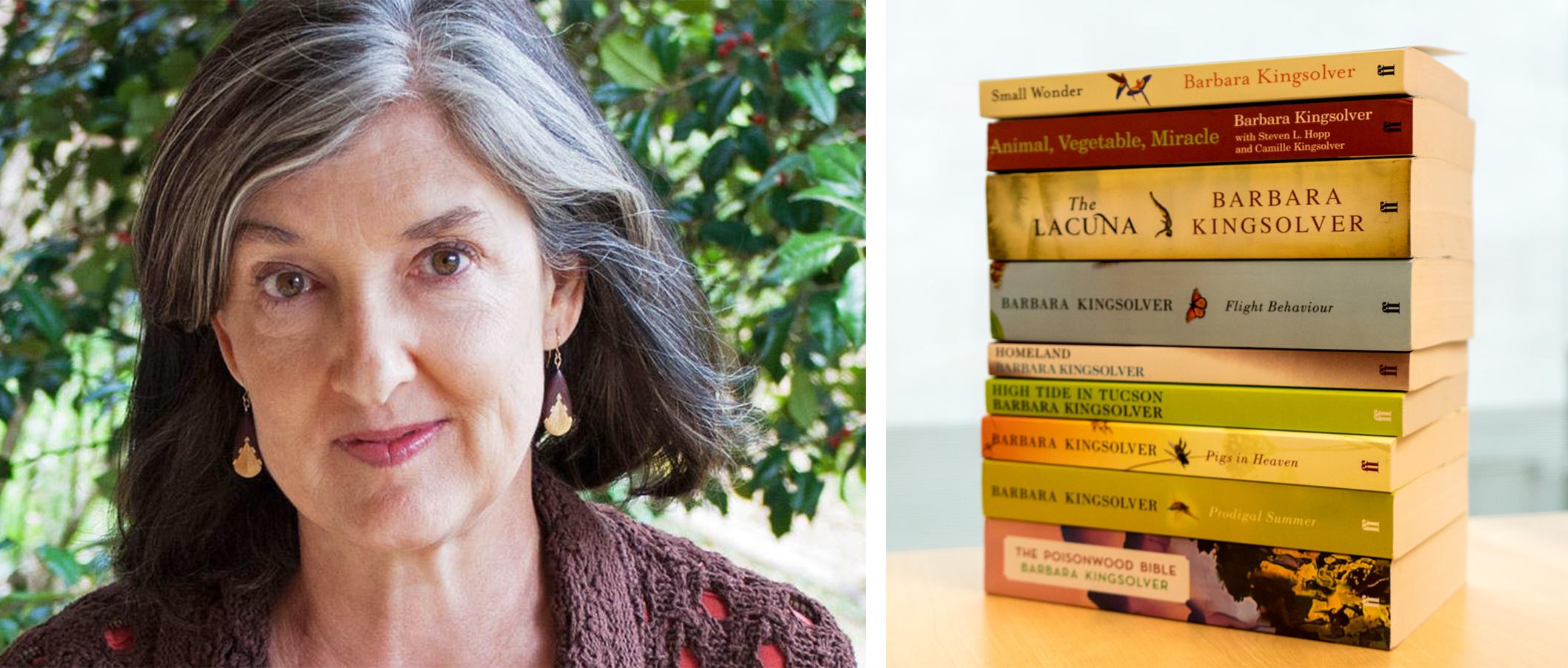 Photo of Barbara Kingsolver and her novels